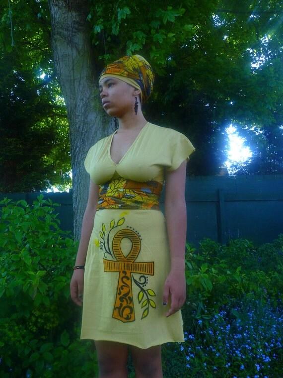 Erykah Badu dress and headpiece wax print ankh design empire line handpainted  dress