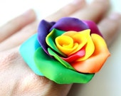 Rainbow Burst Rose Cocktail Ring