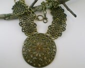 Vintage Antiqued Brass Necklace  Metal Floral Filigree Bib