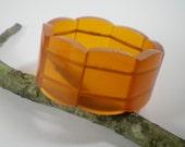 Vintage Orange  Bracelet Stretchable Lucite Translucent Bangle Cuff