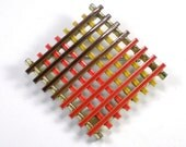 Vintage Mod Enamel Multi Color Brooch Pin