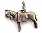 Lady And Horse Brooch Pin Sterling Silver Iconic Vintage Jewelry