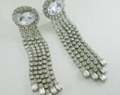 Art Deco Clear Rhinestone Bridal Earrings Wedding Earrings Vintage Jewelry