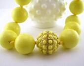 Vintage Lemon Yellow Lucite Necklace