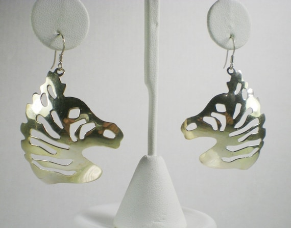 Vintage Sterling Silver Earrings Safari Zebra Animal African Pierced