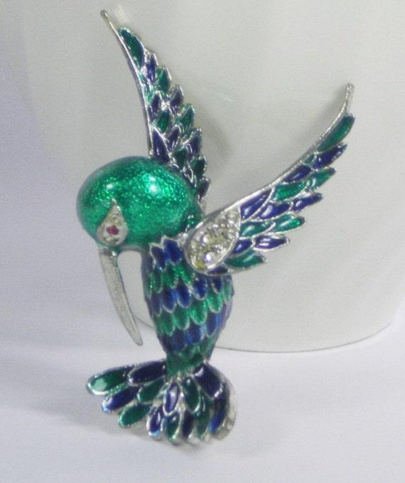 Vintage Hummingbird Silver Green Blue Enamel Brooch