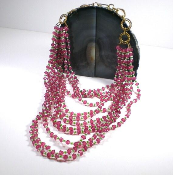 Pink Glass Necklace Multi Strand Bib Necklace Vintage Jewelry Statement Necklace
