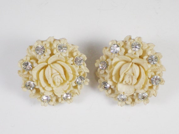 Vintage Carved Celluloid Rose Clip Earrings