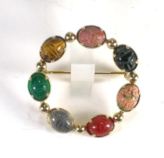 Vintage Winard Gemstone Brooch Pin 12KGF