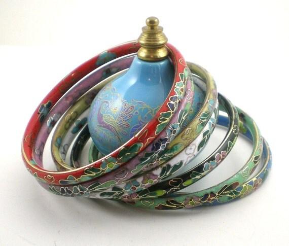 Cloisonne Bangle Bracelets Vintage Floral Multi Color