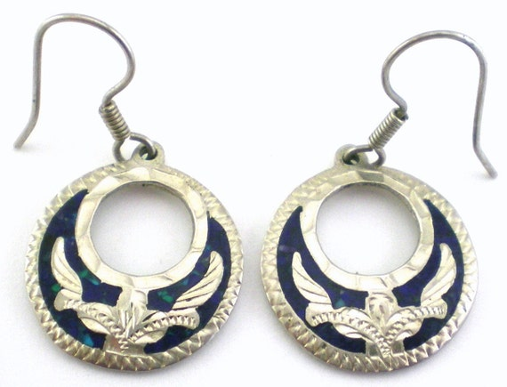 Lapis Earrings Sterling Silver Mexico Blue Dangle Etched Vintage Jewelry