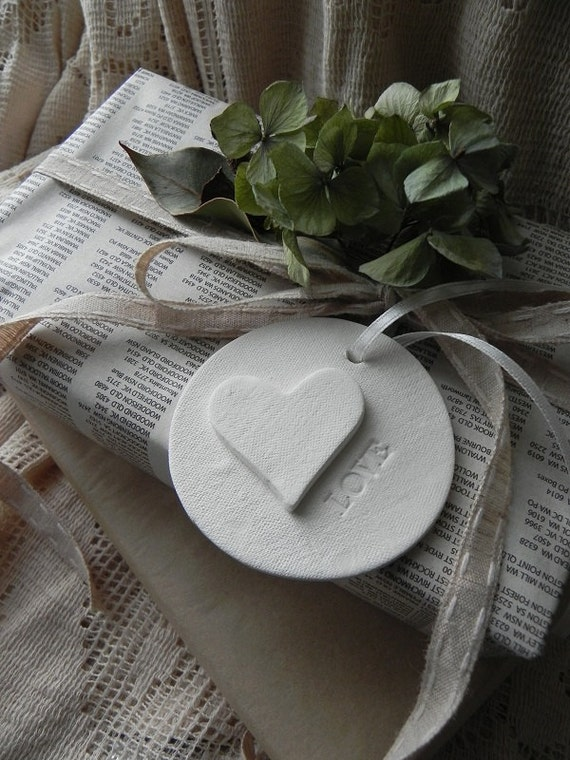 3D Heart 'love' Clay Tags- set of 2