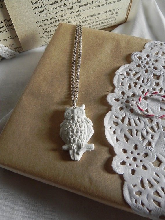 White Clay Owl Necklace