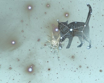 Constellation Cat Art Print - Star Map - Starry Sky - Animal Art - Cat Print - Blue Sky Constellation Whimsical Illustration Print