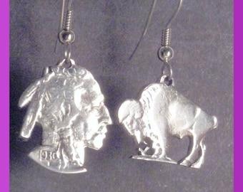 Cut Out Buffalo Nickel Earrings