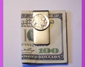Buffalo Nickle Money Clip  Heads