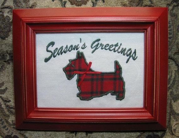 Scottie Scotty Dog Season's Greetings Winter Holiday Season Christmas Red Green Plaid Ribbon Bow Embroidery