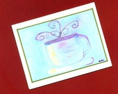 Coffee Art Note Card - Thinking About It Over Coffee
