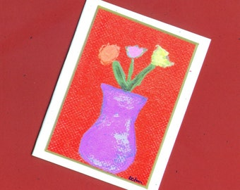 Blank Floral Card - Flowers on Red Number 1