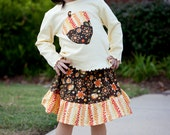 Fall outfit - Girls Toddler outfit - Acorn Leaves Shirt and Skirt Set- Baby Clothes - Girls Clothes