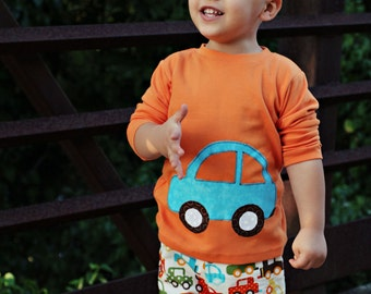 READY TO SHIP- 6-12 month Car Outfit - Boys Outfit - Shirt and pants - Car Applique - Baby Boys Clothes - Boys Toddler Outfit
