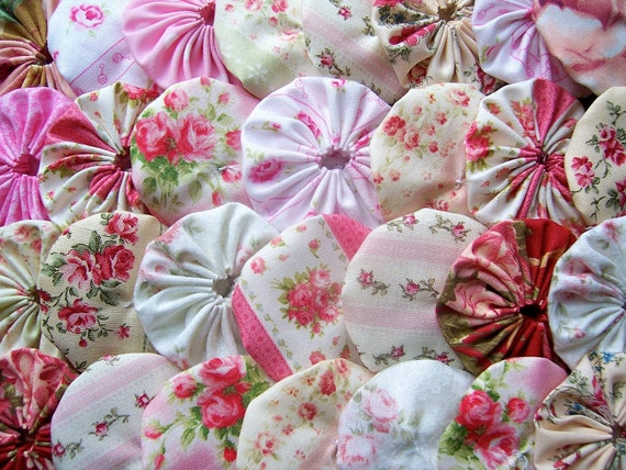 30  Shabby MARY ROSE Chic Fabric 2 Inch Yo Yo Quilting Barrette Cottage Trim Applique