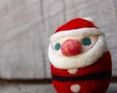 One Little Needle Felted Christmas Santa Egg MADE TO ORDER