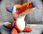 Needle Felted Shabby OOAK Wool Fox Snuggle Toy Ready to Ship