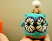 Cashmere and Merino Felted Party Owl  Egg WOOLY Made to Order