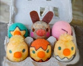 Easter WOOLY Hatching Eggs and One Naughty Egg Bunny Made to Order