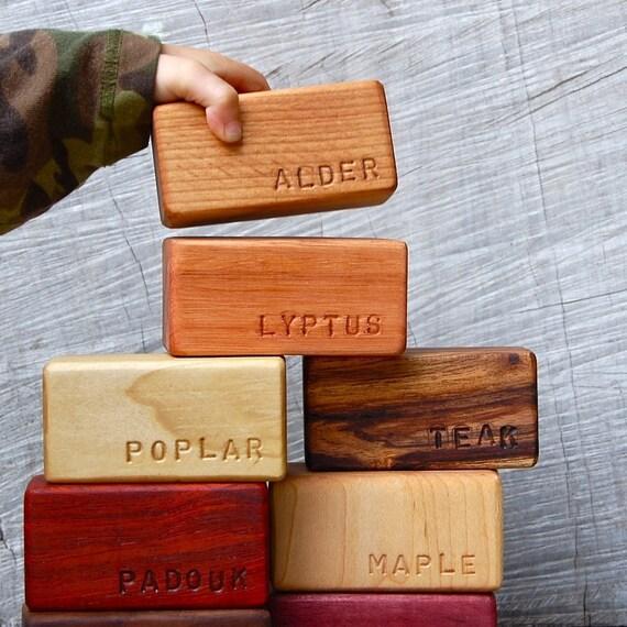 Set of 8 Natural Organic Hardwood Building Blocks 'Namesake'