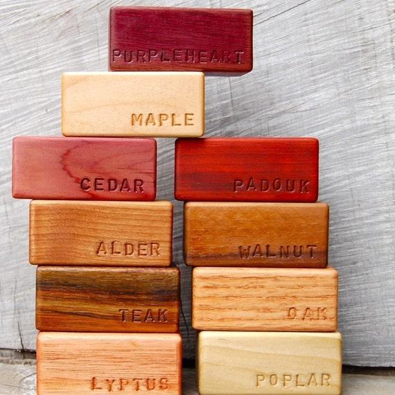 Set of 10 Natural Hardwood Building Blocks 'Namesake'