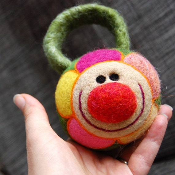 Baby's Needle Felted Wool Happy Flower in Pink and Yellow Rattle Made to Order