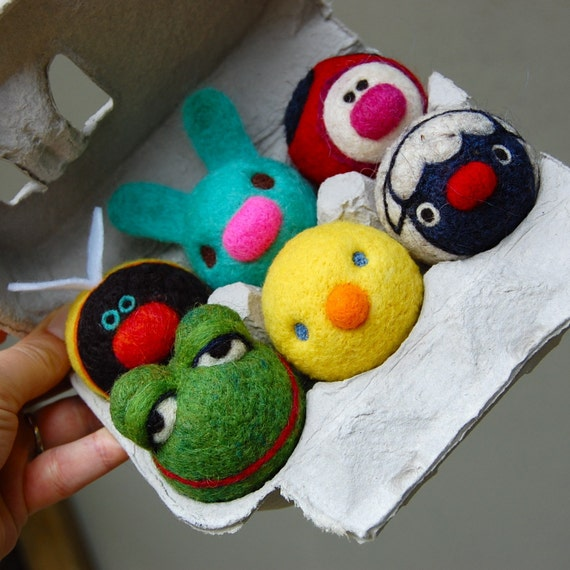 Tiny  WOOLY Spring Animals in egg carton Made to Order