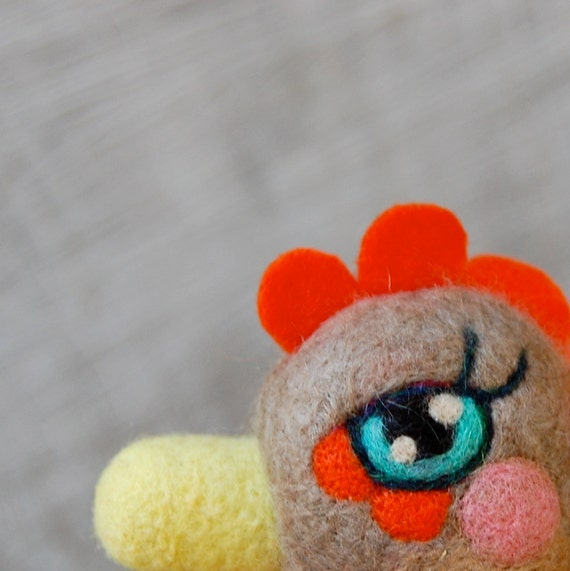 Needle Felted One of a Kind Cashmere Rooster Egg Doll
