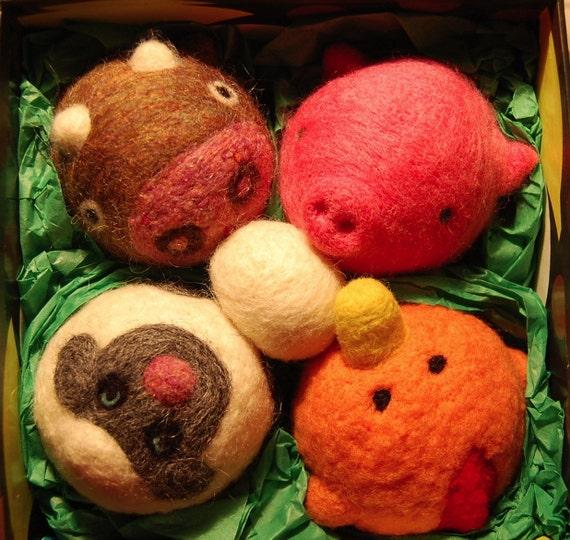 Needle Felted Barnyard Animal Balls