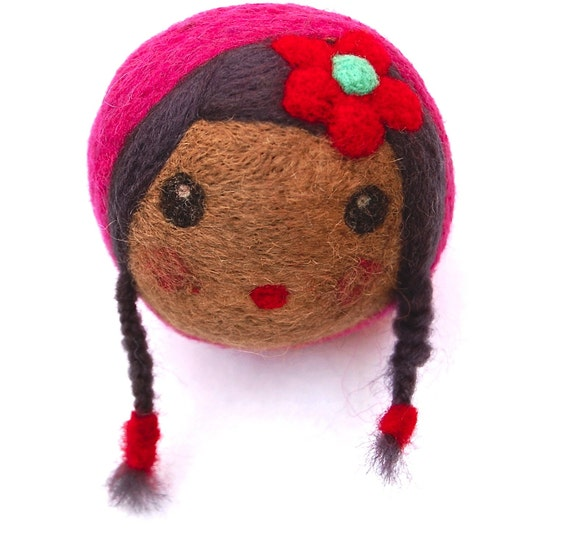 Needle Felted Wool Doll Ball with Braids