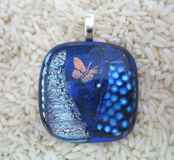 Large Fused Etched Dichroic Glass Pendant