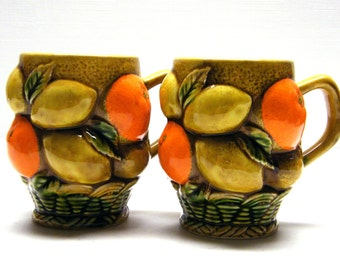 Oranges Lemons - Vintage 1960s Inarco Ceramic Mug Set