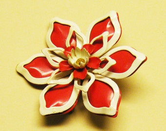 Red White Flower Vintage Brooch