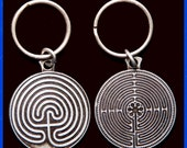 Labyrinth Key Chain- Pewter Tone- 2 Sided