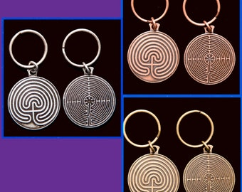 3 Labyrinth Key Chains- Pewter Tone, Copper Tone, Gold Tone-    sale - SALE - sale - SALE - sale - SALE - sale