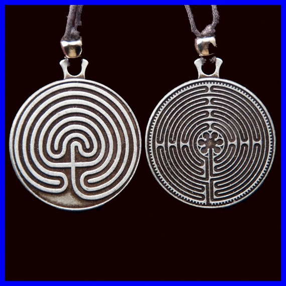 Labyrinth Pendant- Pewter Tone- 2 Sided