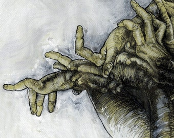 Green Hands figure drawing pen and ink - fine art poster