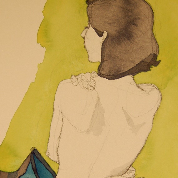 Mayas Back Green and Blue Ink Crayon and paint on paper figure drawing female nude original signed