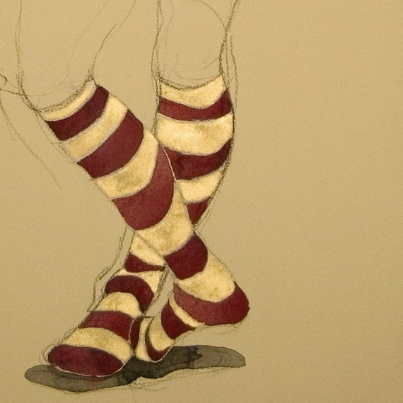Suzanne w/ Maroon and Gold Socks Watercolor and Crayon on tan paper figure drawing original signed