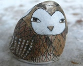 Story Stone - Large Beach Stone with Owl
