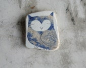 RESERVED - Blue Patterned Beach Pottery Owl