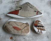 Red and Tan Beach Pottery Collection of Three - Birds