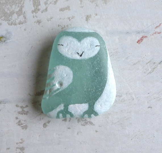 RESERVED - Large Beach Glass Owl